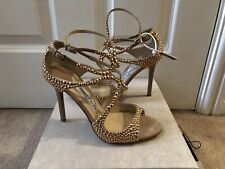 *BNIB* £849 AUTHENTIC JIMMY CHOO LANG STUDDED PINK NUDE SANDALS HEELS SHOES 4 37
