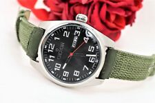 Large Men's Croton Watch #CN307261 Day and Date Army Green Band Easy To Read