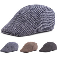 Men's Warm Knitted Cotton Striped Driving Golf Cap Casual Newsboy Berets Hat