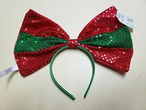 "Claire's Large Sequin Red/Green Christmas Oversized 13"" Bow Headband One Size"