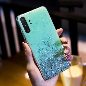 Bling Glitter Star Clear Soft Silicone Case Cover For Samsung Galaxy Phone Model