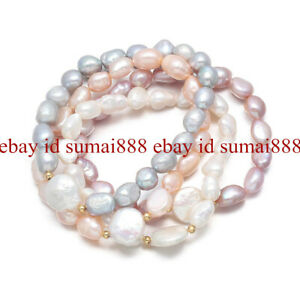 Real 8-9mm 4 Color Akoya Pearl & White Baroque Coin Pearl Stretch Bracelet 7.5''