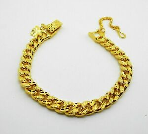 8 mm Cuban Classic 22K 23K 24K Thai Baht Yellow Gold Plated Jewelry Bracelet 7""