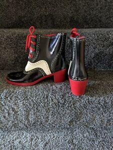 Lola Ramona Evelyn Black Red White Waterproof Heeled Womens Ladies Casual Boots