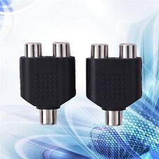 2pcs RCA Splitter 1 Female to 2 Female Y Adapter AV Audio Video Converter HOT