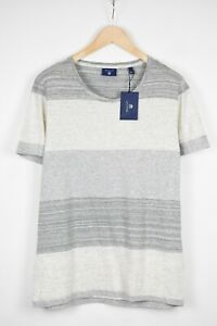 RRP $99 GANT LARGE Stripped Mélange Deep Crew Neck Casual Thin T-Shirt 18891*