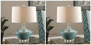 """PAIR MODERN 23"""" BLUE TIE DYED CERAMIC GLAZE CHASID TABLE LAMP CRYSTAL DETAIL"""