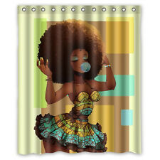 "60"" x 72"" African Woman Waterproof Polyester Fabric Bathroom Shower Curtain ca"
