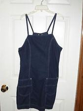 Dark Denim Wash Blue Jean Mini Spaghetti Strap Summer Dress Size 11 Lee Riveted