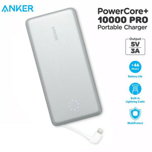 Anker PowerCore+ 10000mAh Portable Charger Power Bank Built-in Lightning Cable