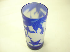 Old Vintage Tall Blue Cameo Cut Back To White With Birds / Flowers A1 Mint 9 3/8