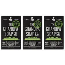 Grandpas Pine Tar Bar Soap 3.25 Ounce (Pack of 3)