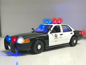 Los Angeles Traffic POLICE LAPD Ford Crown 1/18 WORKING Emergency Lights & SIREN
