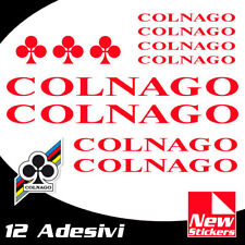 Set 12 adesivi COLNAGO colore ROSSO  bici bike stickers decals frame RED