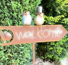 Gartenstecker Welcome Schild Vögel Rabe Windrad Gartendeko 120cm  54985