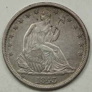 1843-O Seated Liberty Half Dollar, Nice AU Details, Late Die State WB-9, R3