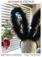 BLACK BUNNY Rabbit LACE Feather EARS Hairband VEIL * DRESS UP * BRITISH COMPANY