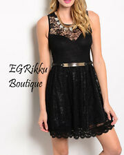 **Brand New** Black Sleeveless Lace Dress Belt Included! S/M/L!