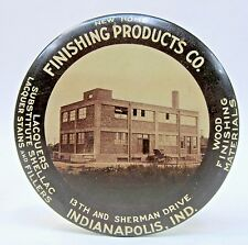 c.1915 FINISHING PRODUCTS CO. Indianapolis INDIANA paperweight pocket mirror *