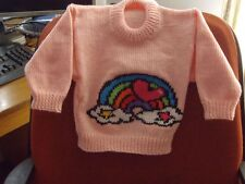 RAINBOW  CUTE AND BRIGHT    ..NEW... SIZE  2-3 HAND KNITTED..!00% ACRYLIC