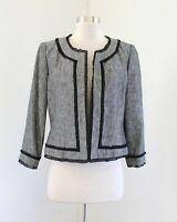 Kasper Gray Linen Blend Black Ruffle Trim Open Collarless Blazer Jacket Size 8