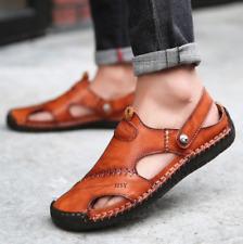 sandales homme cuir véritable plage pantoufle pas cher été chaussure marron