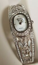 Fifth Avenue Collection Silver MOP Wrist Watch Bracelet Halo Cubic Zirconia's