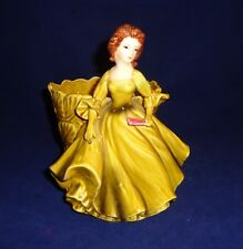 Vintage Lefton Planter/Vase Figure-Lady in Long Green Gown with Fan #4599