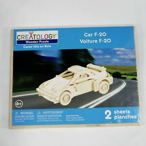 Creatology Wooden Puzzle Car F-20 2 Sheets Ages 6+ New Sealed