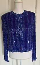 TALBOTS Heavily Beaded Sequin Jacket Womens Size 10 Formal Cocktail Party Purple