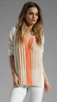 Joie Sinden Orange Coral Ombre Sheer Silk Pleated Blouse Top Sz S