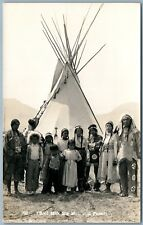 AMERICAN INDIAN CHIEF MAX BIG MAN & FAMILY ANTIQUE REAL PHOTO POSTCARD RPPC