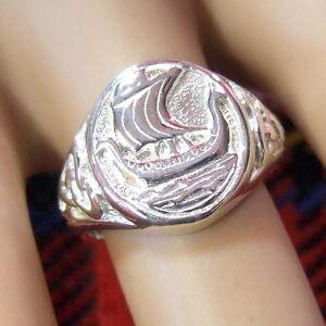 new sterling silver viking longship ring