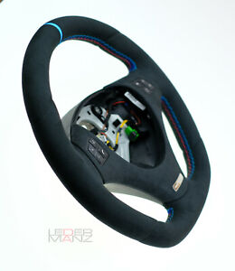 Steering wheel BMW custom flat bottom Performance Alcantara M stitch Individual