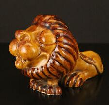 John Virando Richmond Hill Pottery Brown Honey Glazed Ceramic Lion
