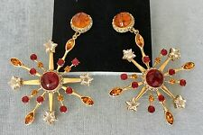 "4"" DOMINIQUE AURIENTIS SIGNED CRYSTAL SNOWFLAKE GOLD METAL HUGE EARRINGS VINTAGE"