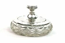 Early 20th C. Sterling Silver Powder Jar Pot Cut Glass London 1931