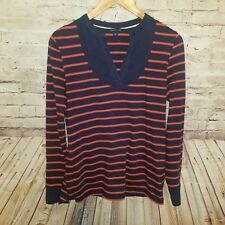 Tommy Hilfiger Womens Sweater Blue Red Stripe V Neck Sz Small Pullover Cotton