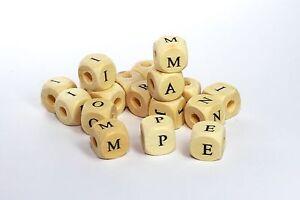 Buchstabenwürfel Buchstabenperlen Holz 300 St. 10x10mm