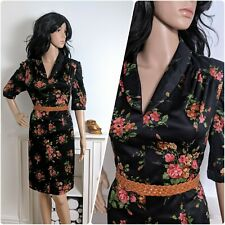 Vintage 70s Floral Poppy Rose Tea Dress 30s 40s 14 42
