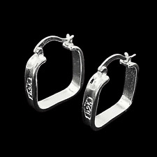 Square Rail Hoop Earrings 925 Sterling Silver NEW