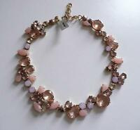 J Crew Colorful Crystal Foliage Statement Necklace in Shell Pink NWT $128 #E3004