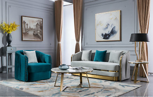 Luxury Three Seater Sofa + Two Seater Sofa Gold Velvet Clearance
