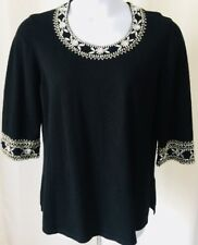 Bob Mackie Womens Large Black Beaded Shirt Knit Top Cotton 3/4 New