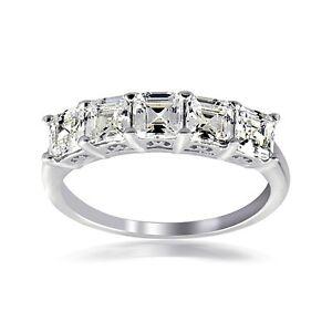 925 Silver Asscher Cut CZ 5 Stone Anniversary Band Ring