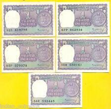 1976, 1977, 1978, 1979, 1980 ★ MANMOHAN SINGH ★ 1 Rupee ★ 5 NOTE SET