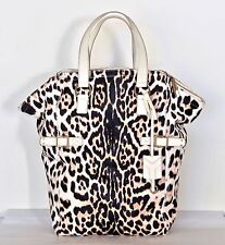 YSL WHITE SNOW LEOPARD DOWNTOWN FUR LEATHER HANDBAG SHOULDER TOTE BAG XL NEW NWT