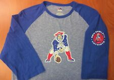 Majestic NFL New England Patriots Football Throwback Logo 3/4 Sleeve Shirt L