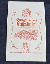 1961 GERMAN-AMERICAN BATHSKELLER RESTAURANT MENU / 17TH STREET NEW YORK