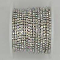 10 Yard Crystal AB Rhinestone Close Chain Clear Trim Sewing Craft (2mm, Silver)